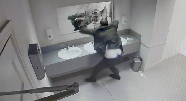 Public Bathroom Mirror british anti-drunk driving campaign frightens people with scary
