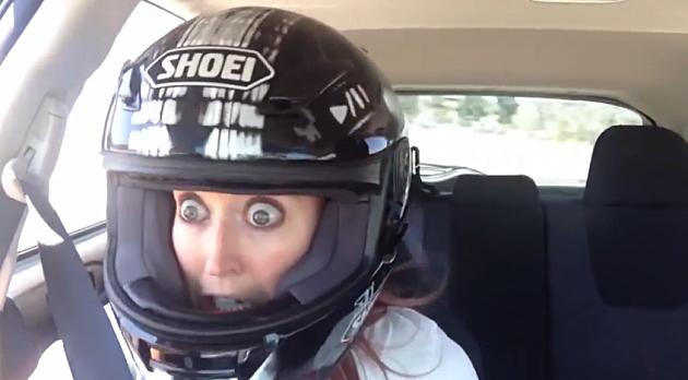 funny girl in race car